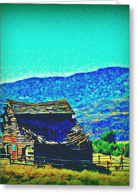 Old Barns Greeting Cards - Roof Cave In Greeting Card by Randall Weidner