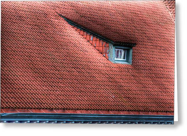 Red Tile Roof Greeting Cards - Roof line Greeting Card by Jean Noren