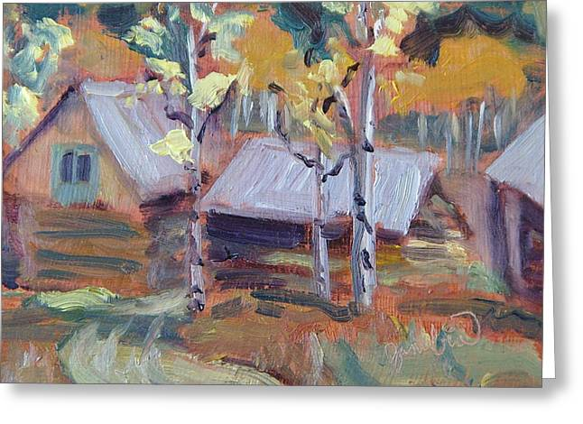 Hunting Cabin Greeting Cards - Roof Tops at Columbine Colorado Greeting Card by Zanobia Shalks