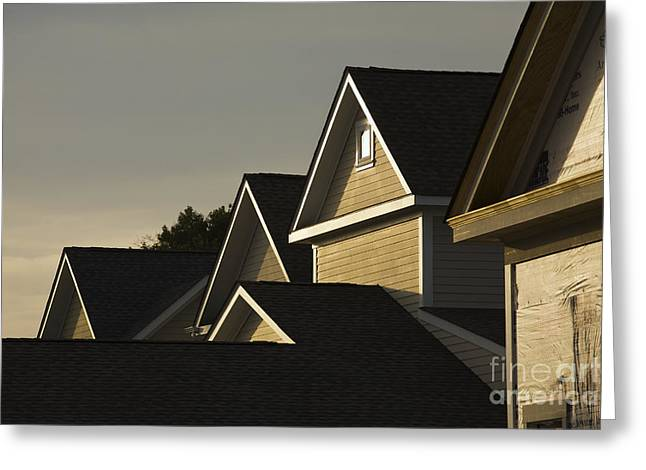 Rooflines At Sunset Greeting Card by Roberto Westbrook