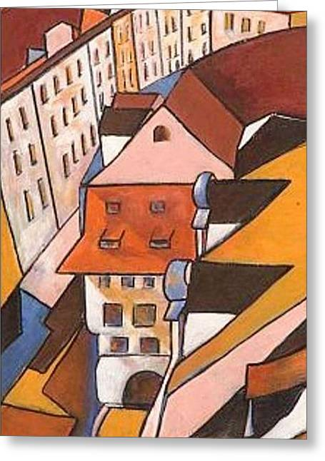 Prague Paintings Greeting Cards - Roofs 2 Greeting Card by Miki Sion