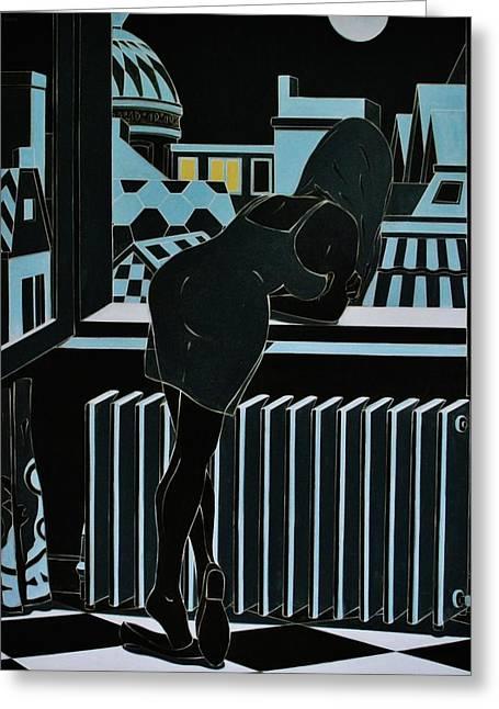 Roofs Of Antwerpen At Night Greeting Card by Varvara Stylidou