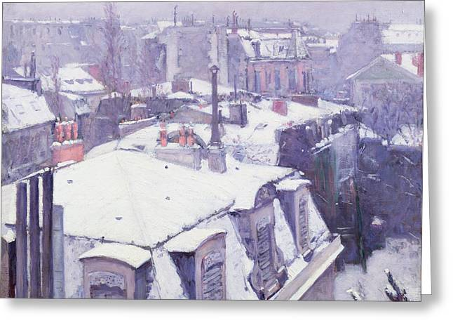 Wintry Greeting Cards - Roofs under Snow Greeting Card by Gustave Caillebotte