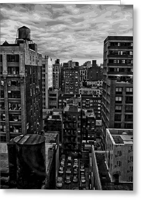 Nyc Rooftop Greeting Cards - Rooftop BW16 Greeting Card by Scott Kelley