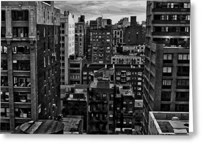 Rooftop BW16 Greeting Card by Scott Kelley