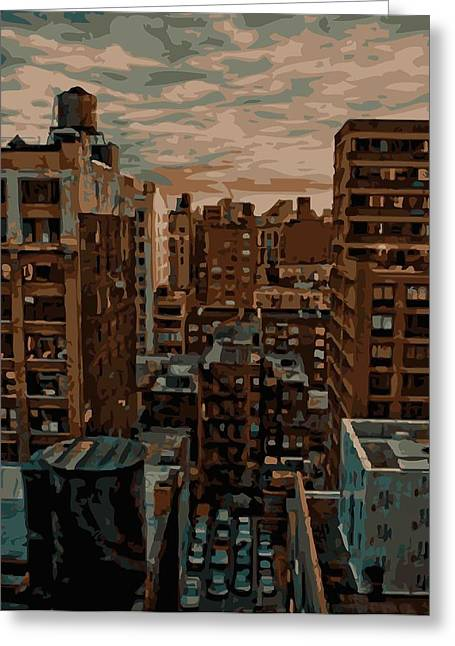 Nyc Rooftop Greeting Cards - Rooftop Color 16 Greeting Card by Scott Kelley