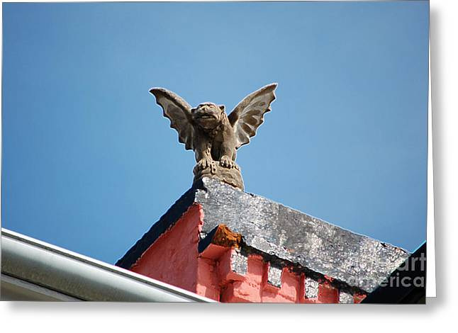 French Quarter Greeting Cards - Rooftop Gargoyle Statue above French Quarter New Orleans Accented Edges Digital Art Greeting Card by Shawn O