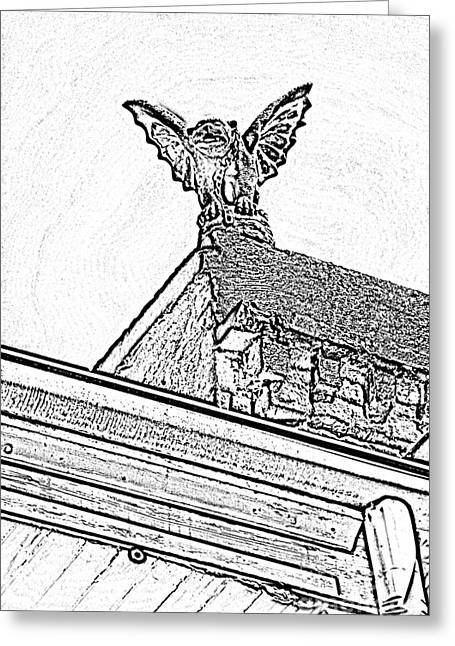 New Orleans Greeting Cards - Rooftop Gargoyle Statue above French Quarter New Orleans Black and White Photocopy Digital Art Greeting Card by Shawn O
