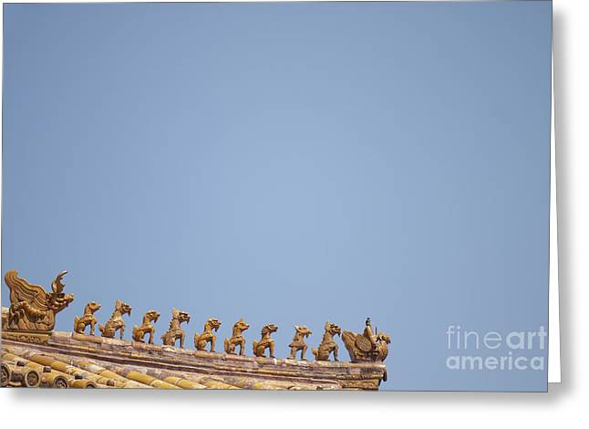 Old Beijing Greeting Cards - Rooftop Statues Greeting Card by Sam Bloomberg-rissman