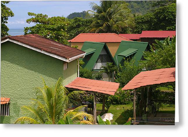 Tropical Oceans Greeting Cards - Rooftops Costa Rica Greeting Card by Michelle Wiarda