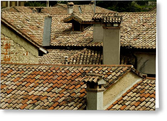 """roof Tile"" Greeting Cards - Rooftops Covered With Terra Cotta Roof Greeting Card by Todd Gipstein"
