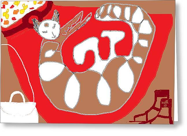 Floral Digital Drawings Greeting Cards - Roofy Sleeping  Greeting Card by Anita Dale Livaditis
