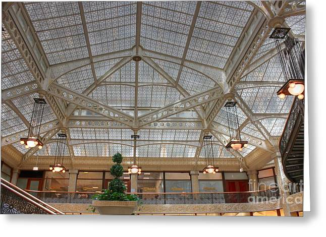 Lasalle Street Greeting Cards - Rookery Ceiling Greeting Card by David Bearden