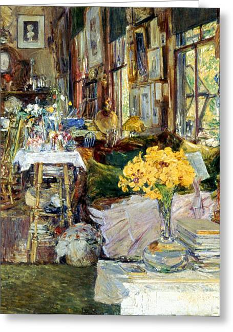 Best Sellers -  - Interior Still Life Greeting Cards - Room Of Flowers, 1894 Greeting Card by Granger