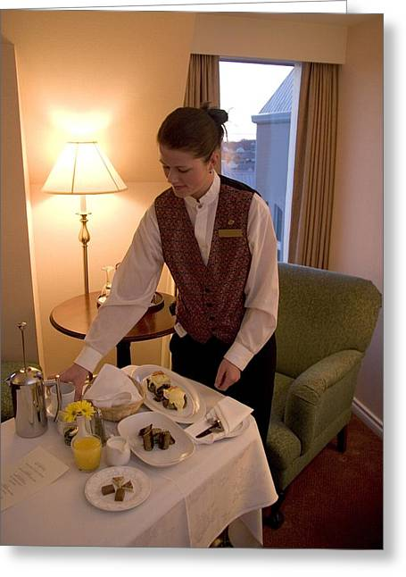 Food Industry And Production Greeting Cards - Room Service Breakfast At A Hotel Greeting Card by Taylor S. Kennedy