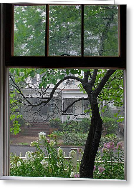 Room With A View Greeting Cards - Room with a Rainy View Greeting Card by Juergen Roth