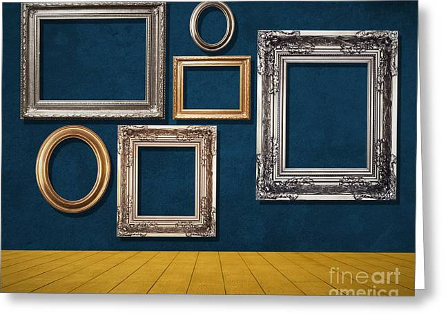 Picture Frame Greeting Cards - Room With Frames Greeting Card by Atiketta Sangasaeng