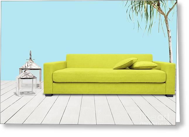 Divan Greeting Cards - Room With Green Sofa Greeting Card by Atiketta Sangasaeng