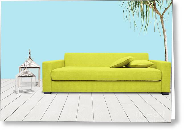 Daybed Greeting Cards - Room With Green Sofa Greeting Card by Atiketta Sangasaeng