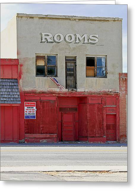 Red Buildings Greeting Cards - Rooms and a beer sign Greeting Card by James Steele