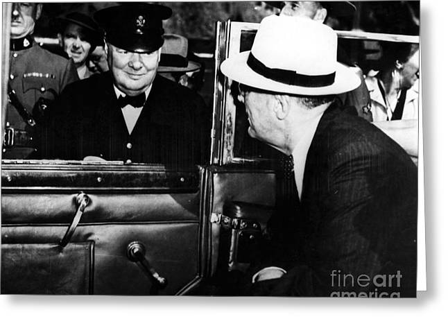 Franklin Roosevelt Greeting Cards - Roosevelt & Churchill, 1944 Greeting Card by Granger