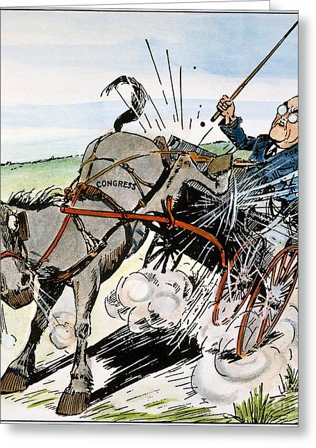 Buggy Whip Greeting Cards - Roosevelt & Donkey, 1937 Greeting Card by Granger