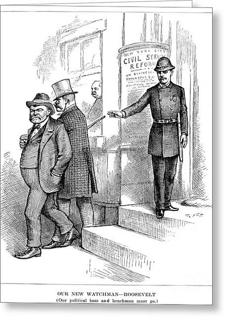 Employer Greeting Cards - Roosevelt Cartoon, 1884 Greeting Card by Granger