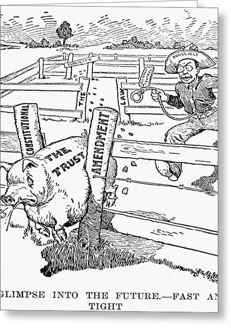 Antitrust Greeting Cards - ROOSEVELT CARTOON, c1906 Greeting Card by Granger