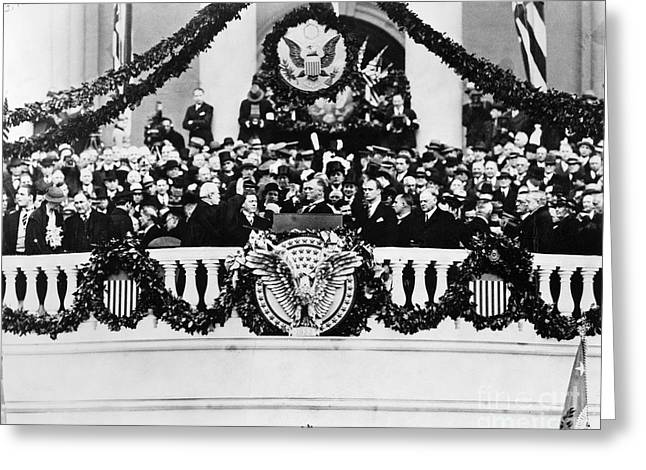 Franklin Roosevelt Greeting Cards - Roosevelt Inauguration Greeting Card by Granger