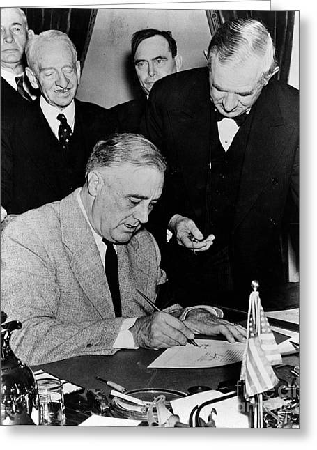 Franklin D. Greeting Cards - Roosevelt Signing Declaration Of War Greeting Card by Photo Researchers