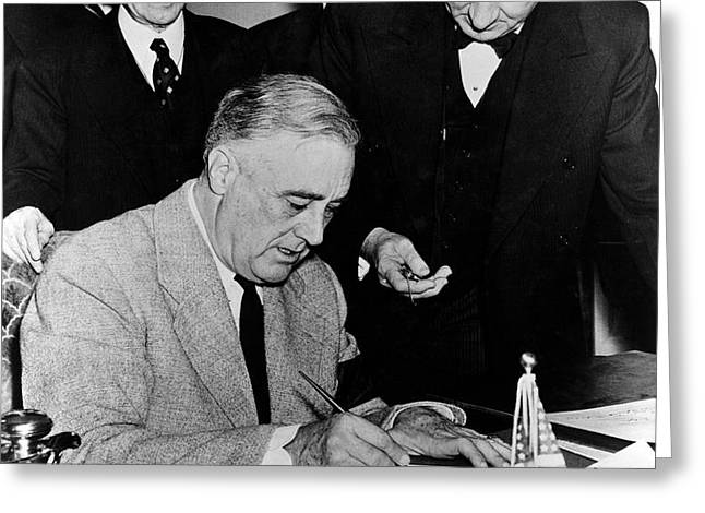Roosevelt Signing Declaration Of War Greeting Card by Photo Researchers