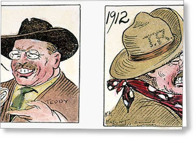 Canvasses Greeting Cards - Roosevelt/taft Cartoon Greeting Card by Granger