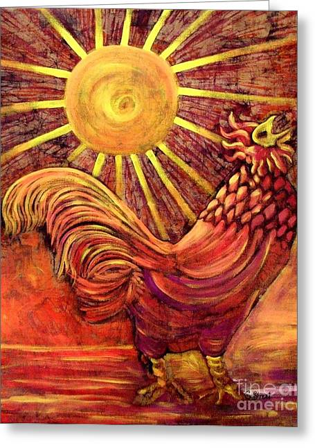 Caroline Street Greeting Cards - Rooster Batik. Greeting Card by Caroline Street