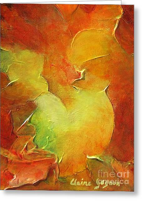 Gold Lime Green Greeting Cards - Rooster Greeting Card by Claire Gagnon