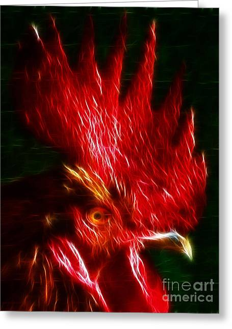 Firey Greeting Cards - Rooster - Electric Greeting Card by Wingsdomain Art and Photography