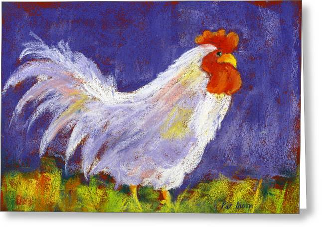 Rooster Pastels Greeting Cards - Rooster in Purple Greeting Card by Pat Olson