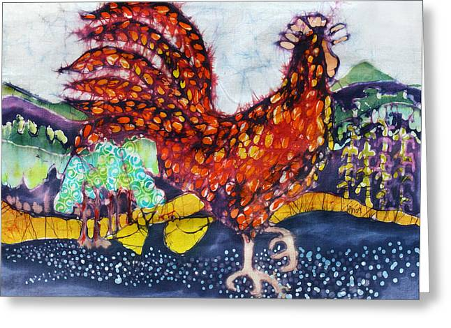Colorful Trees Tapestries - Textiles Greeting Cards - Rooster in the Morning Greeting Card by Carol  Law Conklin