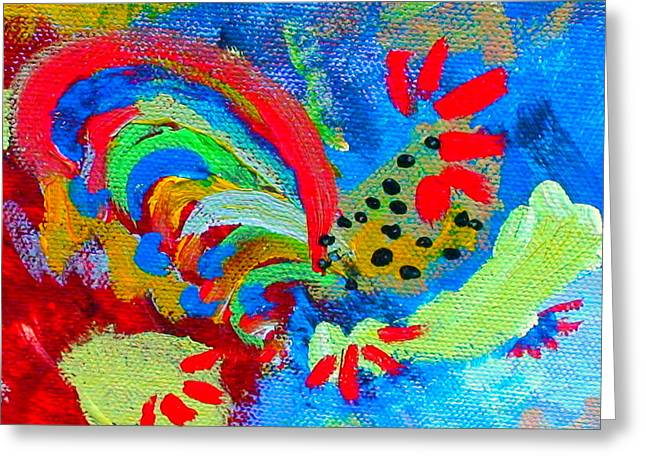 Prussian Blue Greeting Cards - Rooster in the Sky from The Fairy Queen Greeting Card by Angela Annas
