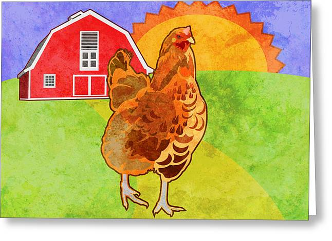 Blue Bird Greeting Cards - Rooster Greeting Card by Mary Ogle