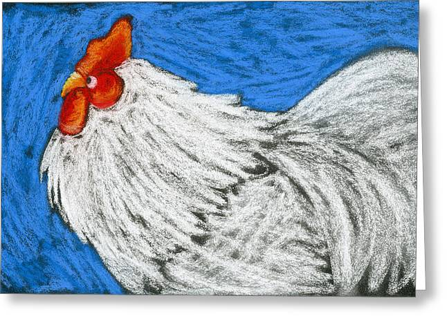 Rooster Pastels Greeting Cards - Rooster on Blue  Greeting Card by Pat Olson