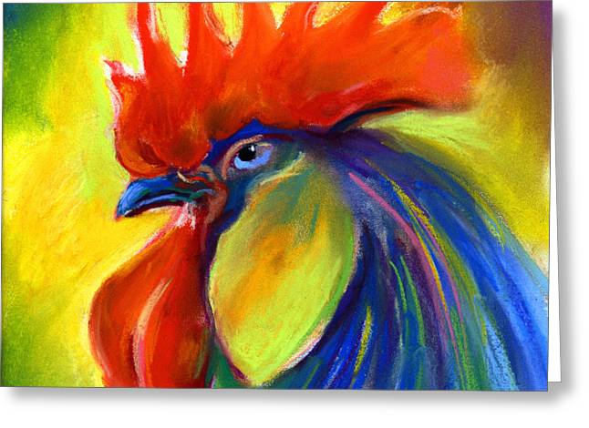 Custom Portraits Greeting Cards - Rooster painting Greeting Card by Svetlana Novikova