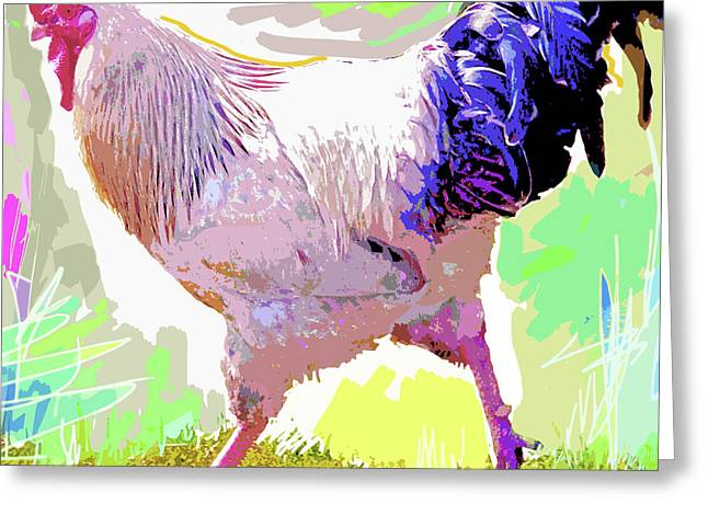 Barnyard Animals Greeting Cards - Rooster Strut Greeting Card by David Lloyd Glover
