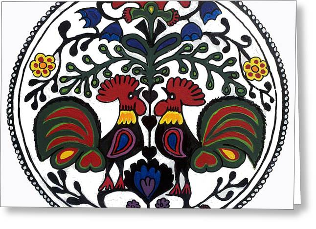 Polish Folk Art Greeting Cards - Rooster Tree Greeting Card by Ania M Milo