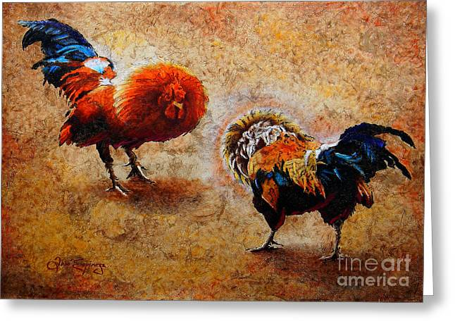 Roosters Greeting Cards - Roosters  Scene Greeting Card by Jose Espinoza