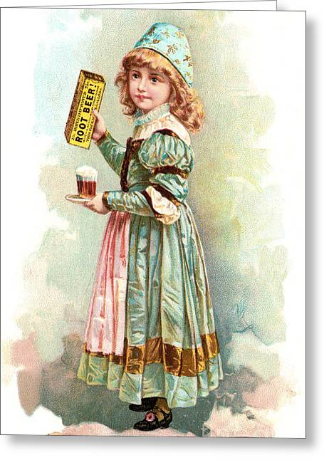 Trade Card Greeting Cards - ROOT BEER TRADE CARD c1880 Greeting Card by Granger