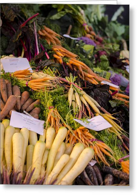 Consume Greeting Cards - Root Vegetables at the Market Greeting Card by Heather Applegate