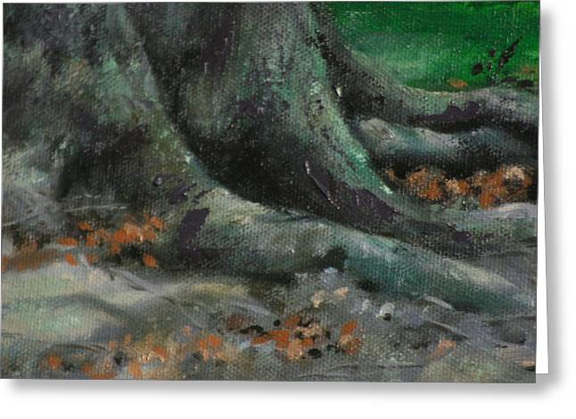 Tree Roots Paintings Greeting Cards - Roots Greeting Card by Linda Eades Blackburn