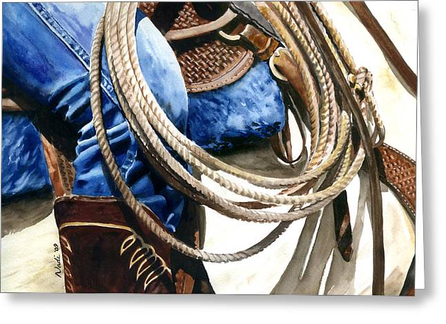 Nadi Spencer Paintings Greeting Cards - Rope Greeting Card by Nadi Spencer