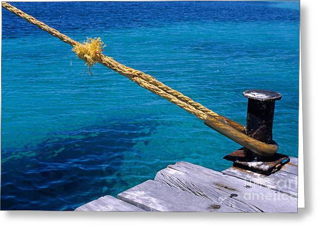 Bollard Greeting Cards - Rope on mooring post Greeting Card by Sami Sarkis
