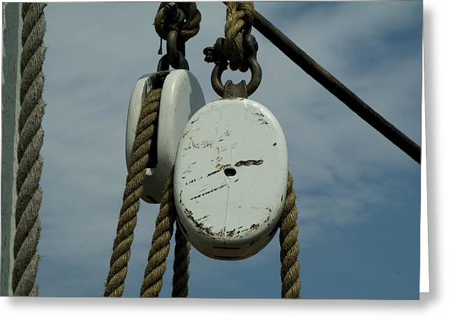 Wooden Ship Greeting Cards - Ropes And Pulleys Against A Blue Sky Greeting Card by Todd Gipstein